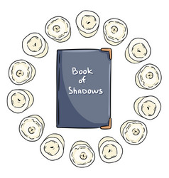 Book shadows witchcraft notebook doodle in a vector