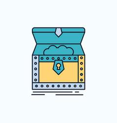 Box chest gold reward treasure flat icon green vector