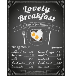 breakfast menu on chalkboard vector image