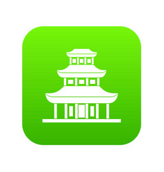 buddhist temple icon digital green vector image