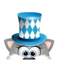 Cartoon funny gray cat in a bavarian hat Card for vector image