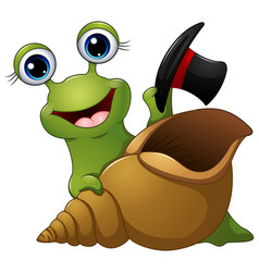 cartoon funny snail in a black hat vector image