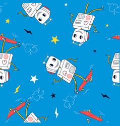 cartoon robot pattern seamless vector image