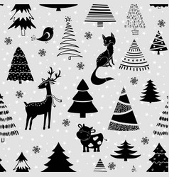 christmas design with tree deer fox bird and cow vector image