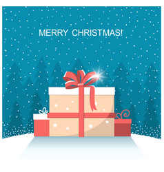 christmas presents on winter snow landscape vector image