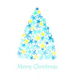 christmas starfish tree watercolor hand painting vector image