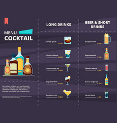 cocktail menu alcoholic different corporate vector image