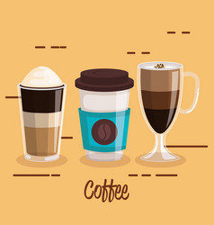 coffee cups set differents type beverage vector image