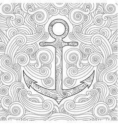 Coloring page with anchor in waves entangle vector