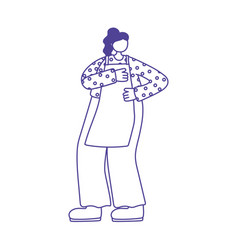 cook woman with apron character isolated icon vector image