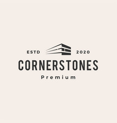 corner stone hipster vintage logo icon vector image