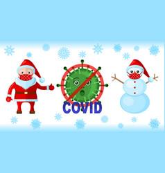Coronavirus snowman santa klaus in a medical vector