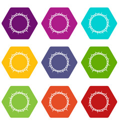 crown of thorns icon set color hexahedron vector image