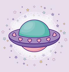 Cute alien spaceship vector