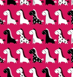 Cute funny seamless pattern with horses background vector