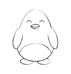 cute sketch draw penguin cartoon vector image