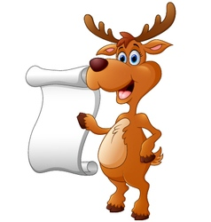deer presenting and blank sign vector image