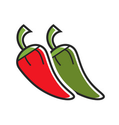 Different hot peppers vector