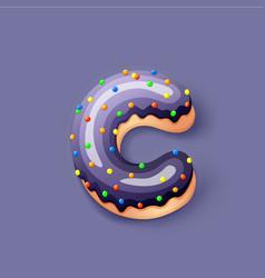 Donut icing dark blue upper latters - c font vector