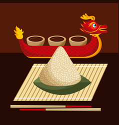 Dragon boat festival food rice dumpling and sauce vector