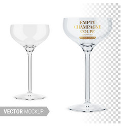 empty clear champagne coupe template mockup vector image