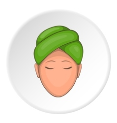 Face of girl on Spa icon cartoon style vector image