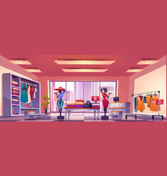 fashion store interior with counter and mannequins vector image