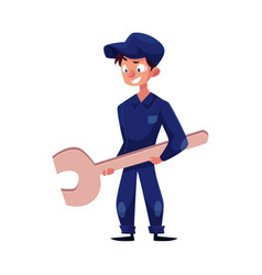 flat young mechanic boy with wrench vector image