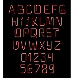 Font neon Realistic brilliant fluorescent font for vector image
