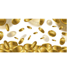 fortune realistic 3d gold empty coins flying on vector image