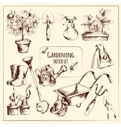 Gardening sketch set vector