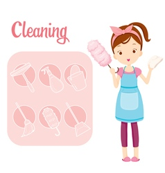 Girl With House Cleaning Equipment And Icons Set vector image