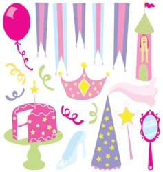 girls princess party vector image vector image