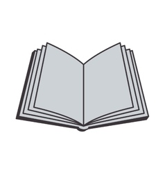 Gray silhouette open book with clean sheets vector