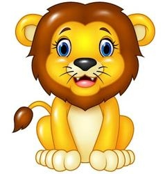 Happy cartoon lion sitting isolated vector