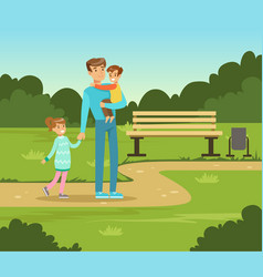 Happy father and two kids walking in summer park vector