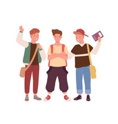happy teenager male kids with backpack bags and vector image