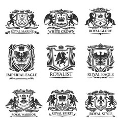 Heraldic eagles lions crowns royal heraldry vector