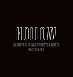 Hollow sans serif narrow font in retro style vector