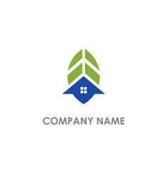 home green leaf design logo vector image