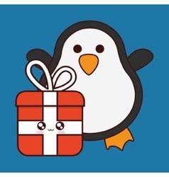 Kawaii penguin and gift of christmas season vector