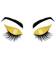 Logo eyelashes the eyes girl with makeup vector