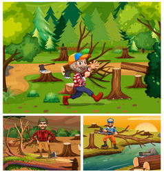 Lumber jacks working in the forest vector