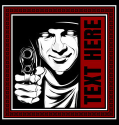 man holding a gun hand drawing vector image