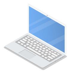 office laptop icon set isometric style vector image