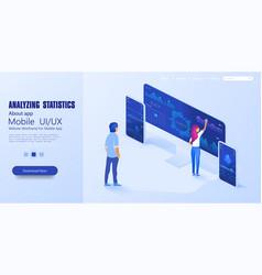 online statistics and data analytics digital vector image