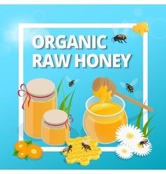 Organic raw honey Greeting card vector image
