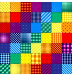 Patchwork pattern of rainbow colors vector image