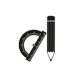 pencil protactor icons vector image