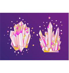 Pink crystal cartoon cute quartz vector
